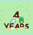 four years anniversary celebration card vector image vector image