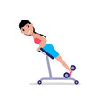 girl swinging back training apparatus vector image vector image