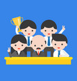 group of happy business people ceo and his team vector image vector image