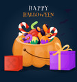 halloween pumpkin basket full of candies and vector image