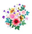 Hand drawn floral bouquet with isolated flowers vector image