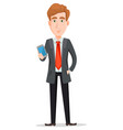 handsome businessman in suit holding modern vector image vector image