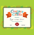Kids Cooking courses certificate design template vector image