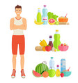 man eating healthy food set vector image vector image