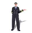 man pilot in uniform pointing hand on something vector image vector image