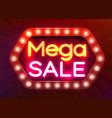 neon sign mega sale on dark background discount vector image