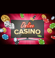 online casino banner with computer monitor vector image vector image