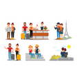 people characters travelling together young man vector image vector image
