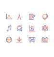 school subjects line icons education signs vector image