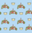 seamless pattern from unicorn tiaras various vector image vector image