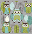 seamless pattern with cute color owls vector image vector image
