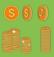 set cent coins in flat style design element vector image