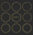 set of golden round frames for decoration vector image vector image