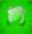 shield green glossy shield with metal frame vector image
