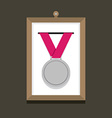 Silver Medal In A Picture Frame vector image vector image