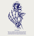 sketch of skeleton hand with rose vector image vector image