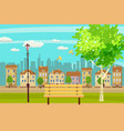 spring landscape city park bench in outdoor vector image vector image