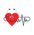 stethoscope monitoring heartbeat pulse vector image vector image
