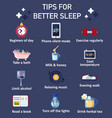tips for better sleep flat icon set vector image