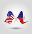 two crossed american and russian flags vector image vector image