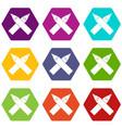 two crossed pencils icon set color hexahedron vector image vector image