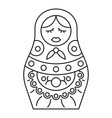vintage nesting doll icon outline style vector image
