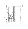 window with potflower vector image vector image
