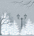 winter background snowfall fir trees and vector image vector image