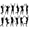 with happy dancing women silhouettes vector image