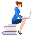 woman sits on piles book and typing on laptop vector image vector image