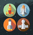Spaceships icons collection with shuttles and rock vector image