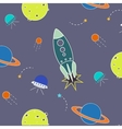 space pattern rocket aliens vector image