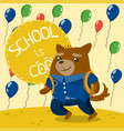 cute little dog in school uniform on the vector image