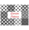 damask floral ornate patterns set vector image