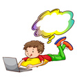 A young boy using a laptop vector image