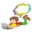 A young boy using a laptop vector image vector image
