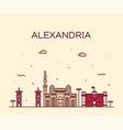 alexandria skyline egypt drawn linear style vector image