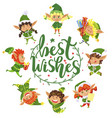 best wishes greeting card with elves xmas holidays vector image