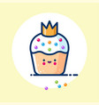 cake small princess muffin crown cream sweets vector image vector image