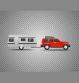 car with trailer isolated on transparent vector image vector image