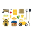 Cartoon Farming Elements and Equipment Set vector image