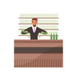cheerful bartender preparing cocktails at the bar vector image vector image