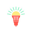 colored led bulb with green light flash vector image vector image