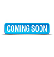coming soon blue 3d realistic square isolated vector image