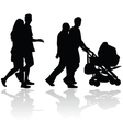 couple people with baby stroller silhouette vector image vector image