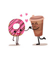 cup of coffee and glazed donut characters are best vector image vector image