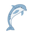 cute cartoon stylized blue dolphin with curls vector image vector image