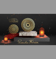 gold round islamic pattern on marble stage 3d vector image
