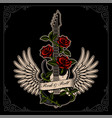 guitar with wings and roses in tattoo style vector image