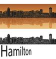 Hamilton skyline in orange vector image vector image